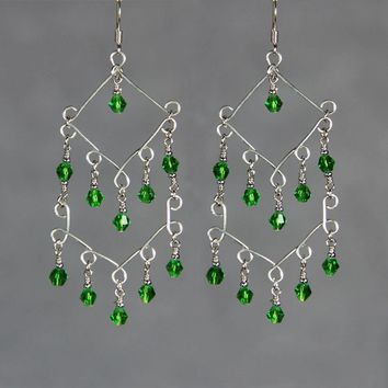 Emerald green glamour chandelier earrings Free US Shipping handmade Anni Designs