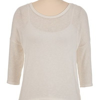 3/4 Sleeve Button Back Top