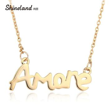 Shineland Hot Women Party Dress Wedding Romantic Jewelry Exquisite Gold-color Polish Letter Amore Pendant & Necklace Love gifts
