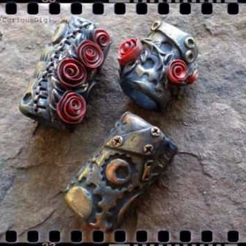 dread bead gift set - Jack and the Cuckoo Clock Heart inspired, Steampunk Gothic art style polymer clay dread beads