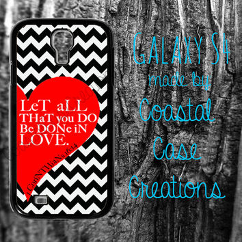 Red Heart and Chevron 1 Corinthians 16:14 Bible Verse Samsung Galaxy S4  2 Piece Durable Cell Phone Case Cover Original Design