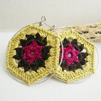 Boho Chic Granny Hexagon Crochet Earrings - Old Gold Dark Brown Fuchsia earrings - Retro Fashion colorful earrings - Girlfriend present