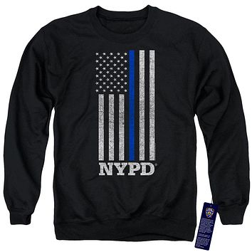 NYPD Sweatshirt Thin Blue Line American Flag Black Pullover