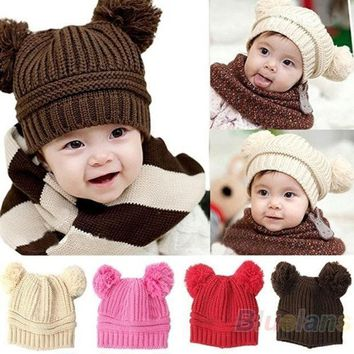 Fashion Baby Girls Boys Kids Dual Ball Knit Sweater Sweaters Cap Winter Warm Hat Hot Sale = 1920405956