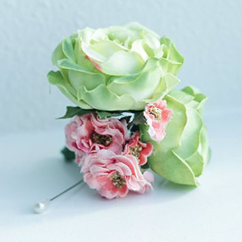 Light Green Rose and Coral Fabric Boutonniere