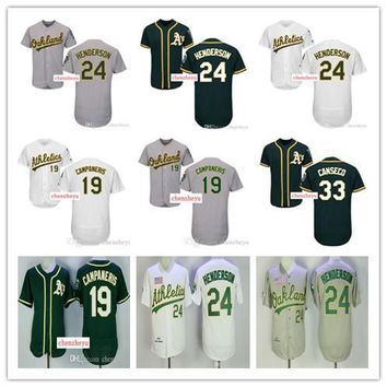 Men's Oakland Athletics jersey 24 Ricky Henderson #33 Jose Canseco 54 Sonny Gray home away Stitched Baseball Jerseys Top quality