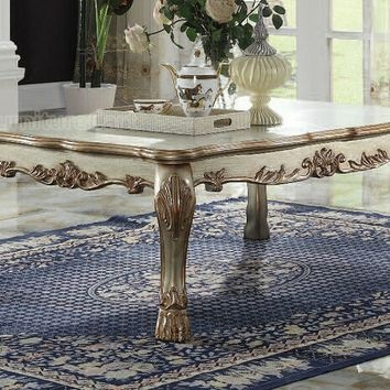 Dresden collection gold patina finish wood carved accents rectangular coffee table