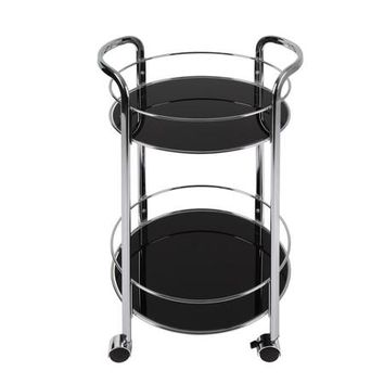 Atlantic Round Rolling Bar Cart, Black - Walmart.com
