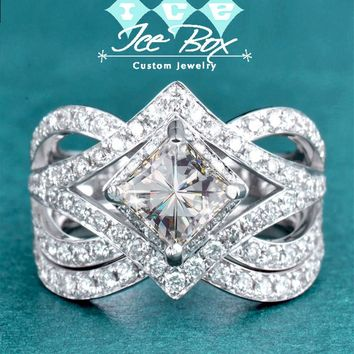 Square Radiant Cut Forever Brilliant Moissanite in a 14K White Gold Diamond Setting W/Matching Band