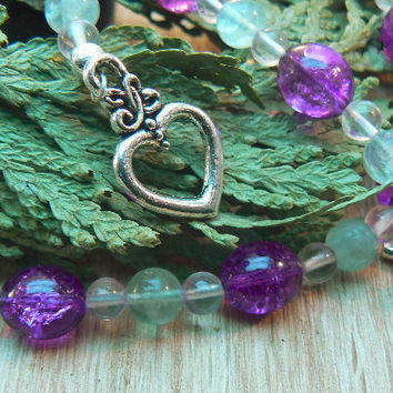 Amethyst rose quartz and green fluorite necklace by 3cedarsjewelry