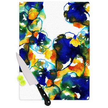 """Sonal Nathwani """"Blue Orange Floral"""" Abstract Watercolor Cutting Board"""