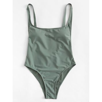 Women's Army Green Low Back One Piece Monokini Swimsuit with Adjustable Straps