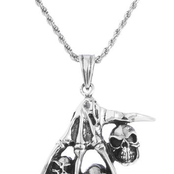 925 Sterling Silver Rhodium Plated Hand and Skull Pendant with a 24 Inch Rope Chain
