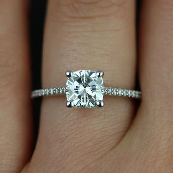 Marcelle 6.5mm 14kt White Gold Cushion FB Moissanite and Diamonds Cathedral Engagement Ring (Other metals and stones available)