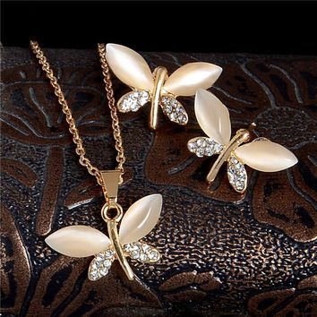 Gold Color Lovely Dragonfly Cat Eye Crystal Rhinestone Pendant Necklace And Stud Earrings