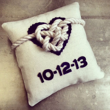 Celtic heart wedding ring pillow nautical beach by EandAHeritage