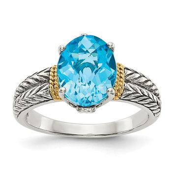 Sterling Silver Two Tone Silver And Gold Plated Sterling Silver w/Blue Topaz Ring