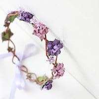 rose hair wreath / lilac purple bridal headpiece, flower crown headband, floral, whimsical, romantic, pastel.