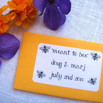 Set of 25 - meant to bee - Seed Packet Favor- FILLED WITH your choice SEEDS- rustic, bee, spring, garden, bridal, wedding favor
