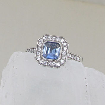 Asscher Cut Light Blue Sapphire Diamond Halo Engagement Ring Weddings Anniversary
