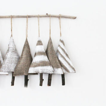Shabby Chic Christmas Tree Ornament set of 6 - Rustic Christmas Decor Primitive Christmas Decorations Burlap Christmas Wedding ornaments