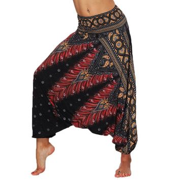 Women Loose Fit Baggy Yoga Harem Pants Smocked Waist Aladdin Genie Drop Down Palazzo Pants Parachute thai Beach Elephant Pants