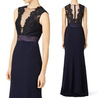 MACloth Mermaid Lace Jersey Long Evening Gown Black Mother of the Brides Dress