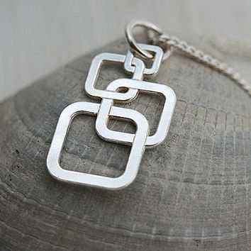 Square Necklace, Square Jewelry, Geometric Necklace, Minimalistic Jewelry, Layering Silver Necklace, Modern Urban girl