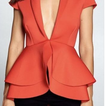 Double Peplum V Neckline Top