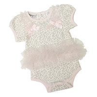 Babyrageous Girls Ivory Leopard Print Light Pink Tutu Bodysuit