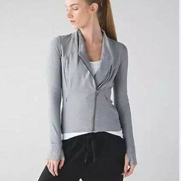 CREYUP0 Lululemon Women Fashion Casual Zipper Cardigan Jacket Coat-1