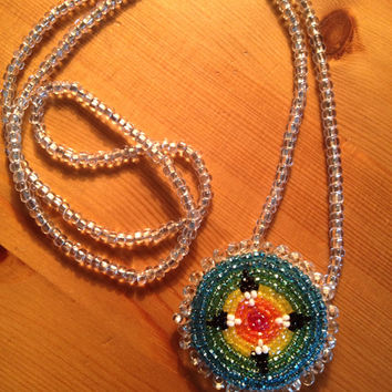 Beautiful Vintage Native American Boho Festival Beaded Mandala Seed Bead Necklace