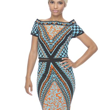 TRIBAL RUSH MIDI SKIRT SET