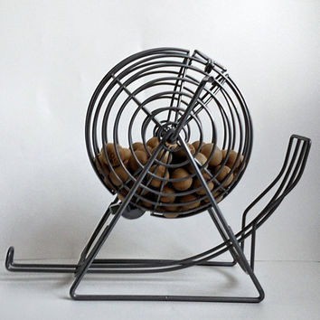 Vintage Bingo Wire Cage Spinner with Engraved Wooden Balls Heavy Wire Cage with Balls Intact RARE