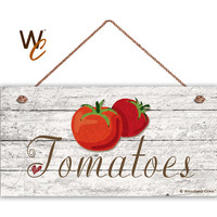 "Tomatoes Sign, Garden Sign, Rustic Decor, Distressed Wood, Weatherproof, 5"" x 10"" Sign, Vegetable Sign, Gift For Gardener, Made To Order"