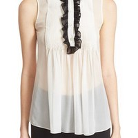 Diane von Furstenberg 'Betsy' Pleated Tie Neck Silk Top | Nordstrom