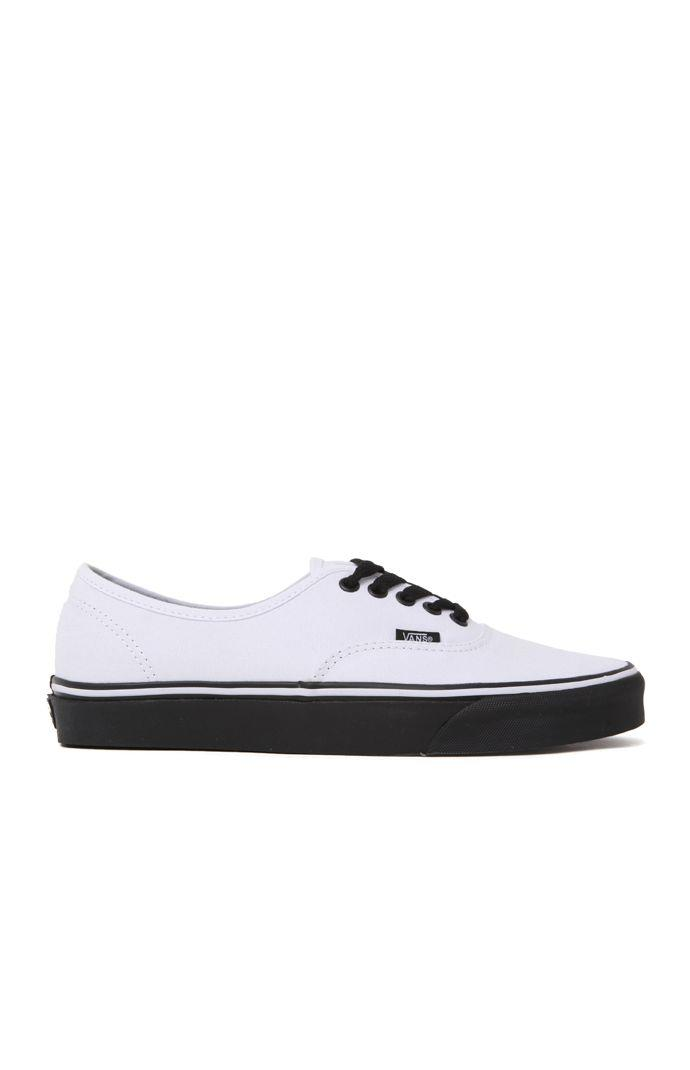 Vans Authentic Black Sole Shoes - Mens Shoes - White 68455cdaf