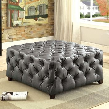 Regina collection gray bonded leather tufted square ottoman foot stool
