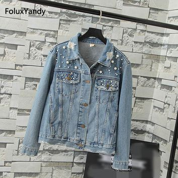 Trendy Embroidered Flares Jackets Women Plus Size 3 4 XL Casual Hole Vintage Denim Jacket Blue Outerwear KKFY05 AT_94_13