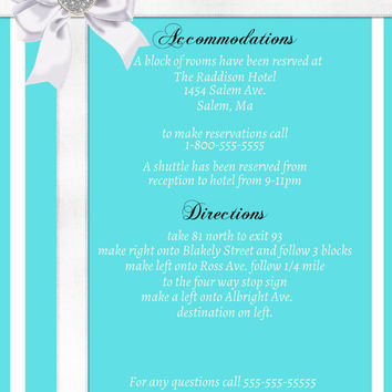 Wedding Invitation Suite-Printable-Tiffany Inspired-DIY-Custom-Tiffany Blue-White-Jewel