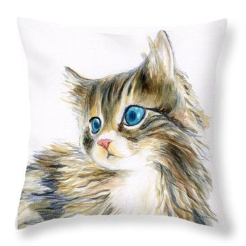 "A Furry Kitten Throw Pillow 14"" x 14"""