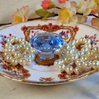 Jewelry display organizer, vintage china dish with gorgeous blue glass knob, use for decorative display