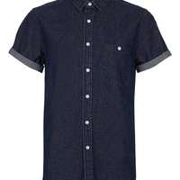 Indigo Short Sleeve Denim Shirt - Short Sleeve Shirts - Men's Shirts - Clothing - TOPMAN USA