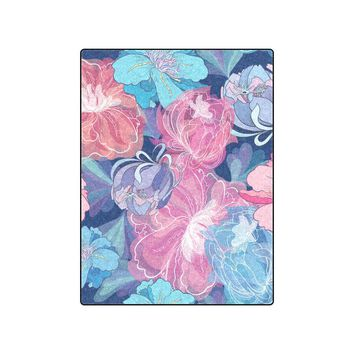 "Blue Romantic Floral Pattern Blanket 50""x60"""