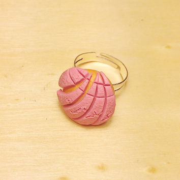 Mini Concha Pan Dulce Polymer Clay Adjustable Ring