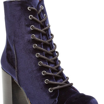 Report Signature Allon Velvet High Heel Booties in Navy Blue