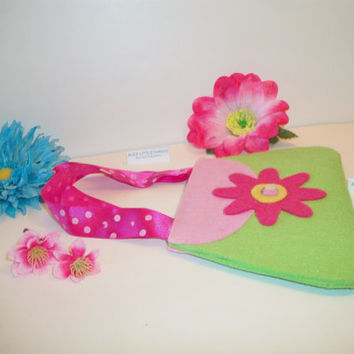 Felt Purse Pink Lime Wall Decor Door Knob Hanger