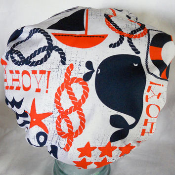 Waterproof Shower Cap - Retro Ahoy Sailor Sailboats Whales Nautical Anchors - Rockabilly Bath and Beauty Hat