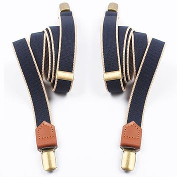 Women Men Elastic Clip-on Suspenders 4 Clips Strap Leather Elastic Belt Adjustable Suspender Trousers Accessories