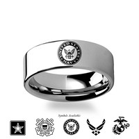 US Air Force, Navy, Army, Marines Symbol Engraved Tungsten Ring